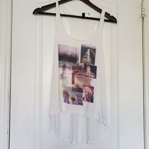 H&M White High Low Tank Top